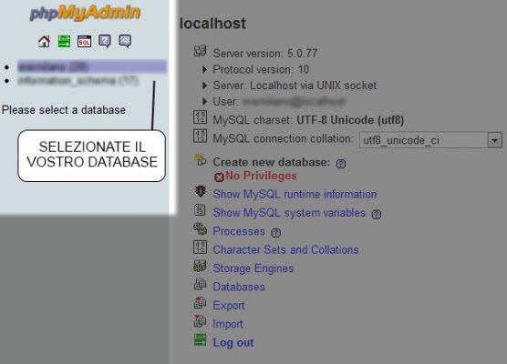 Selezionare il database da esportare