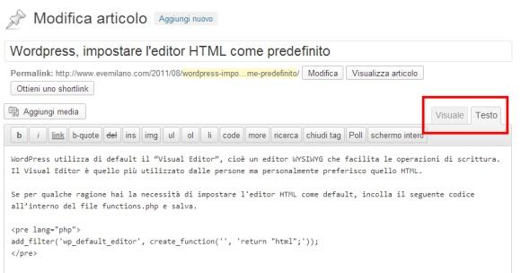 Impostare Editor HTML