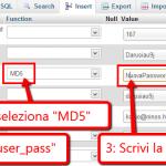 Resettare la password di WordPress con phpMyAdmin