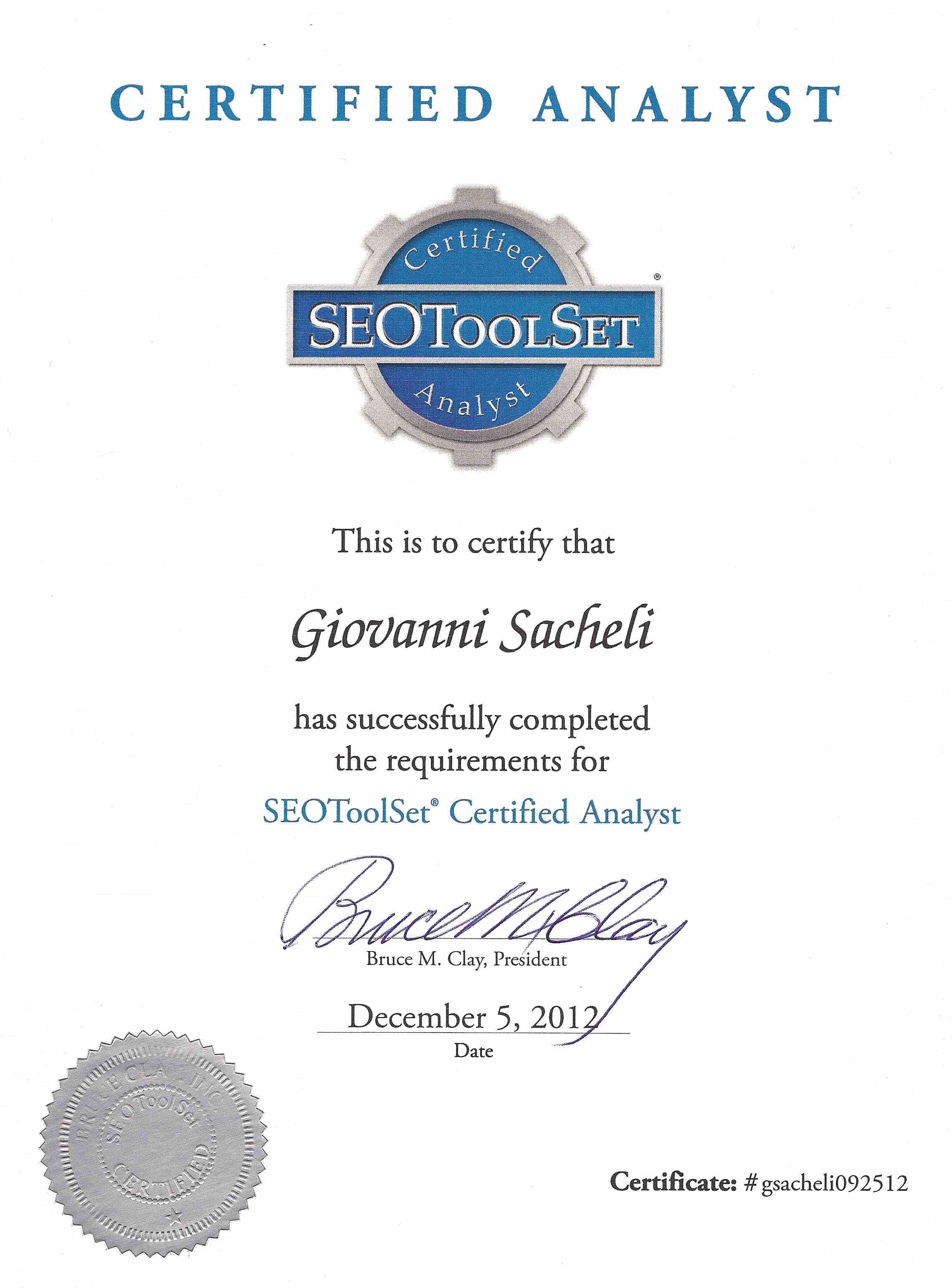 Bruce Clay SEOToolSet Certification