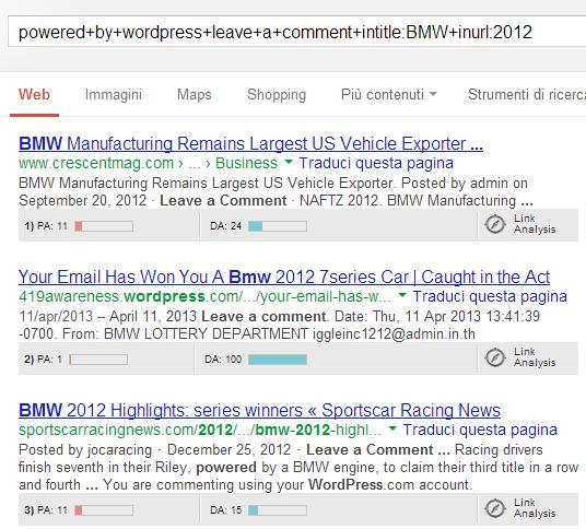 Trovare blog da commentare con Google
