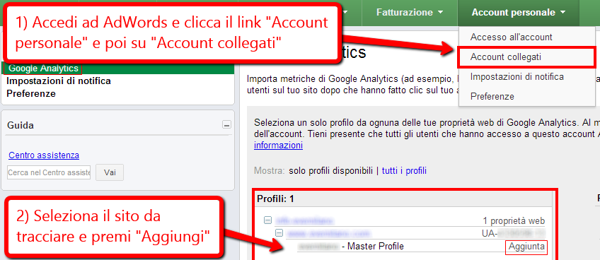 Collegare AdWords e Analytics