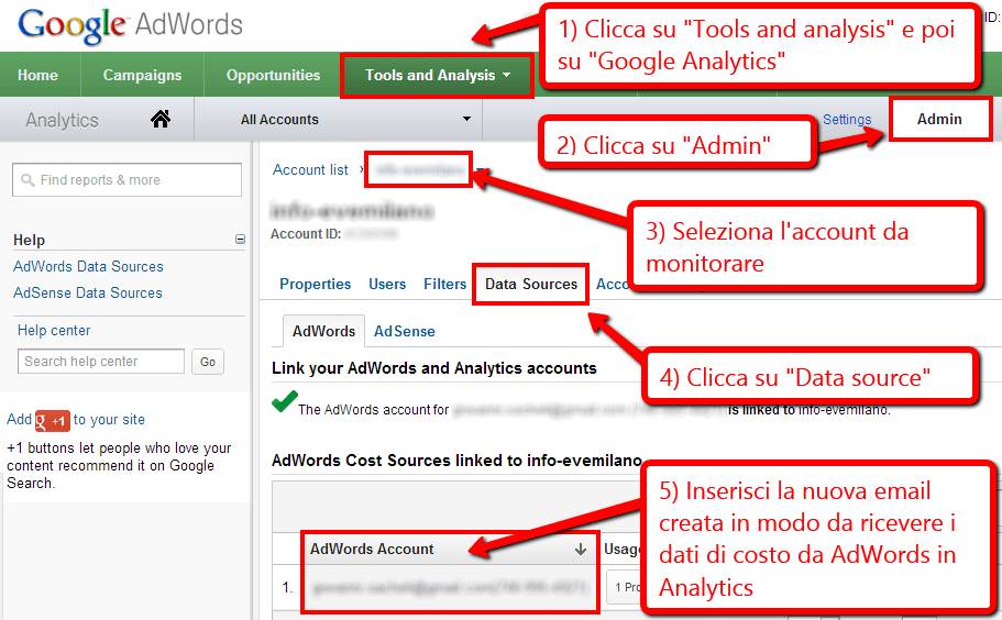 Inviare i dati di costo da AdWords ad Analytics