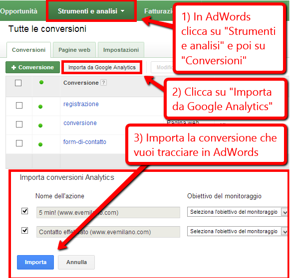 Importare le conversioni da Analytics