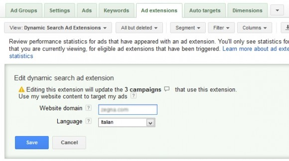 Estensione Dynamic Search Ads