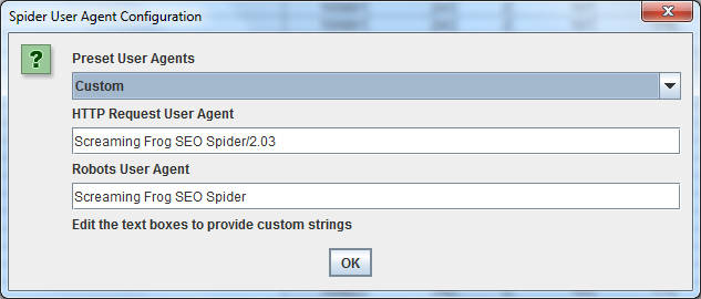 Cambiare user-agent con Screaming Frog