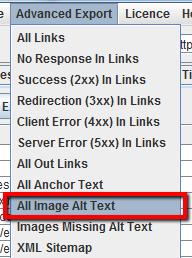 Esportare alt tag delle immagini
