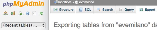 Esportare database MySQL