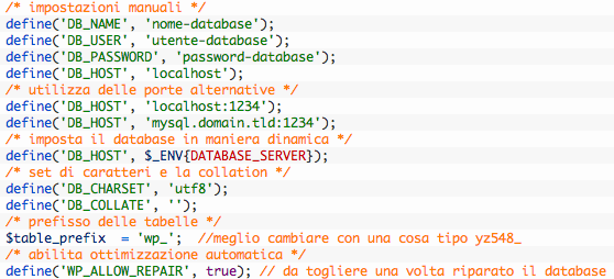 Modificare il file wp-config.php