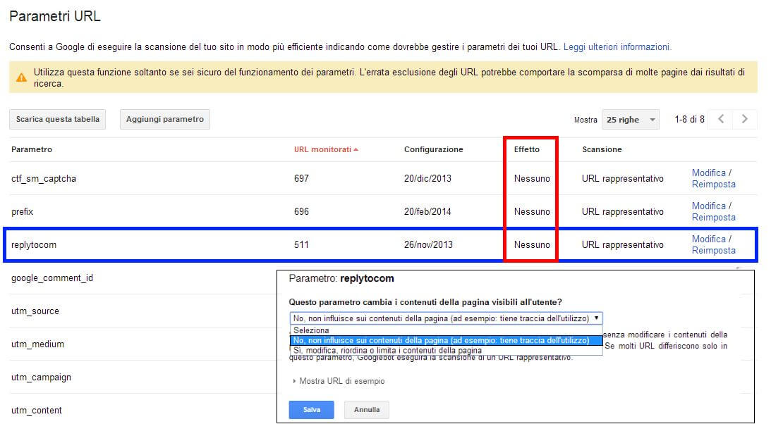 Gestire il parametro replytocom in Google Search Console