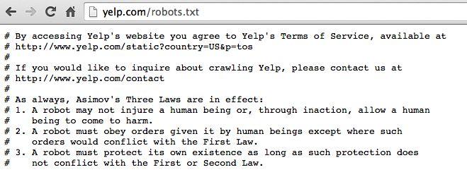 Commenti nel Robots.txt di Yelp