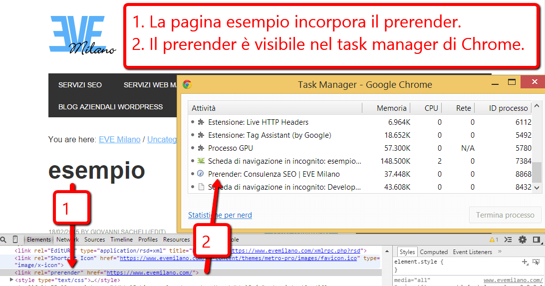 Verifica Prerender con Chrome Task Manager