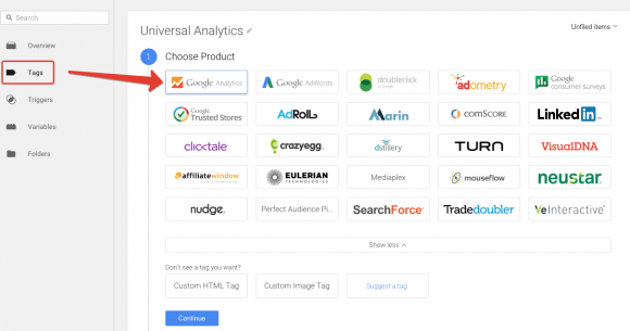 Crea il tag di Google Analytics