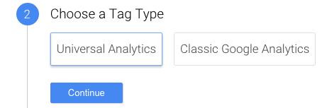 Seleziona il tag type Universal Analytics