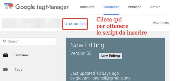 come ottenere lo script di Google Tag Manager