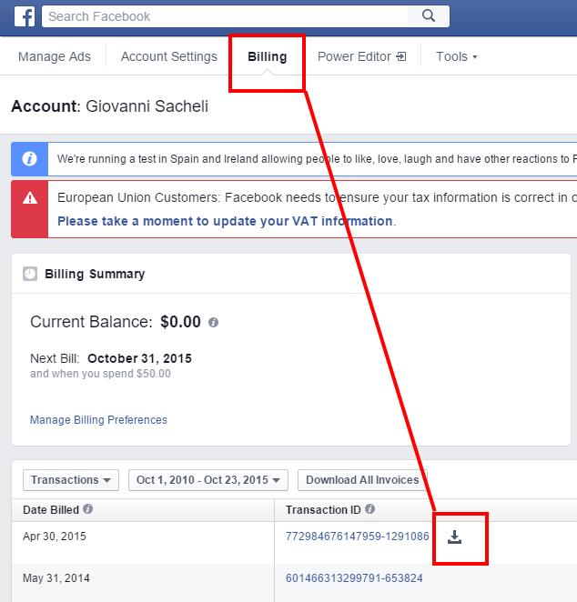 Come scaricare pdf fatture Facebook