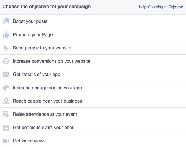Tipologie di campagne Facebook
