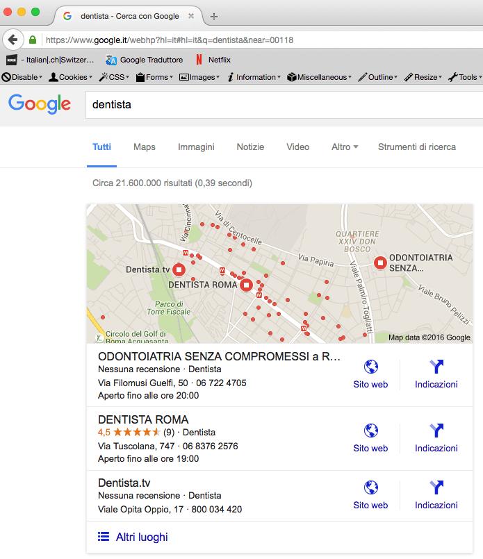 operatore di ricerca NEAR su Firefox