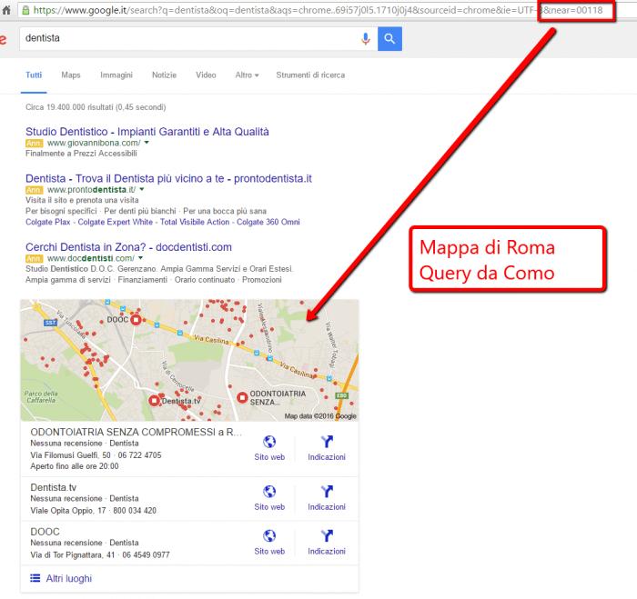 Come simulare la località utente nei risultati di Google