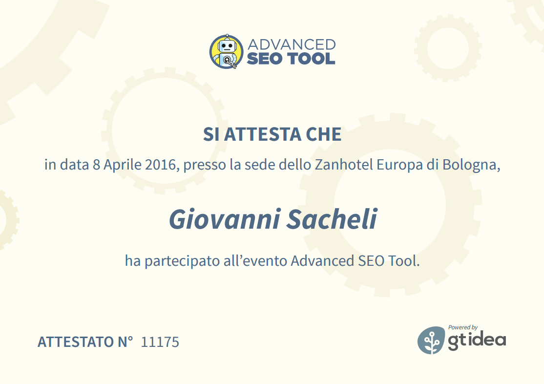 Attestato Advanced SEO Tool 2016