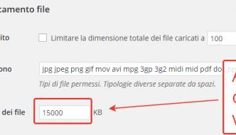 Aumentare la dimensione dei file in upload su WordPress Multisite
