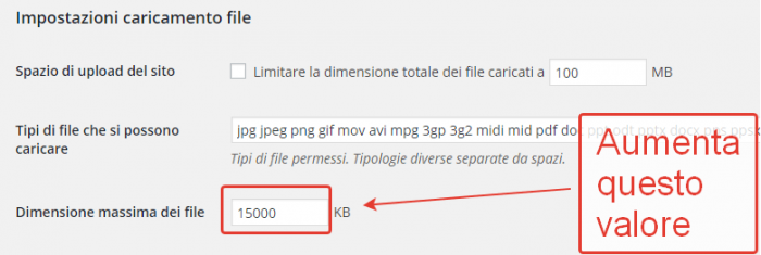 Aumentare la dimensione dei file in upload su WordPress Multisite