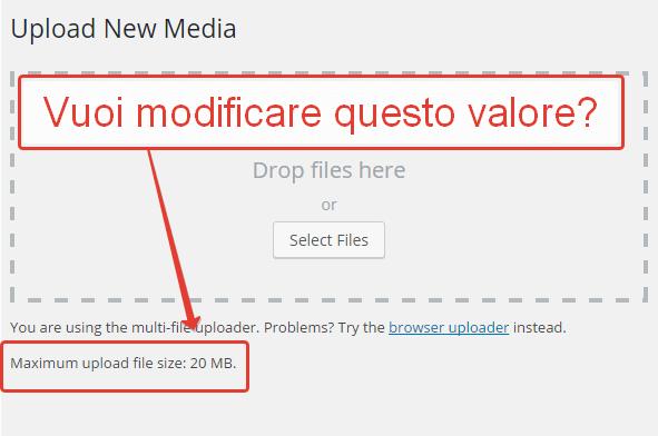 Limite nella dimensione massima dei file in upload