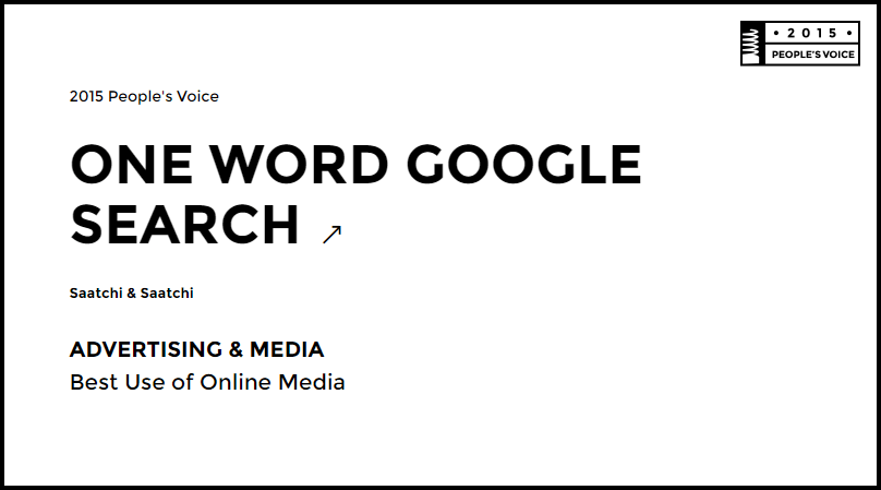 One Word Google Search Webby Awards 2015 - Advertising & Media Winner