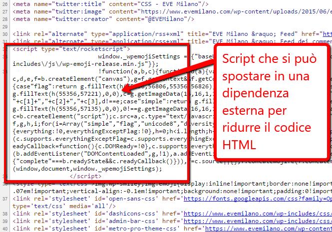 Script escludibile dall'HTML