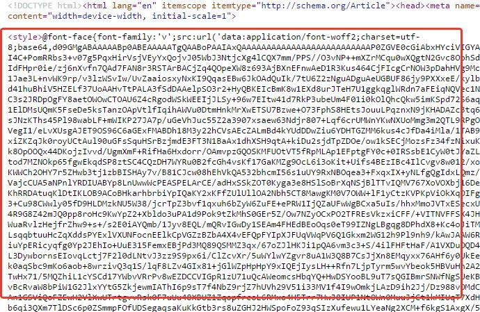 Inserire il Font file in-line