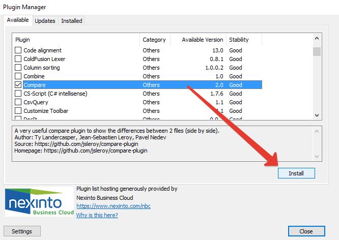 Installa il plugin Compare