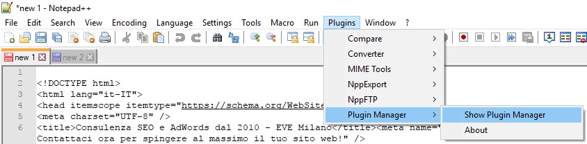 Apri il plugin manager in Notepad++