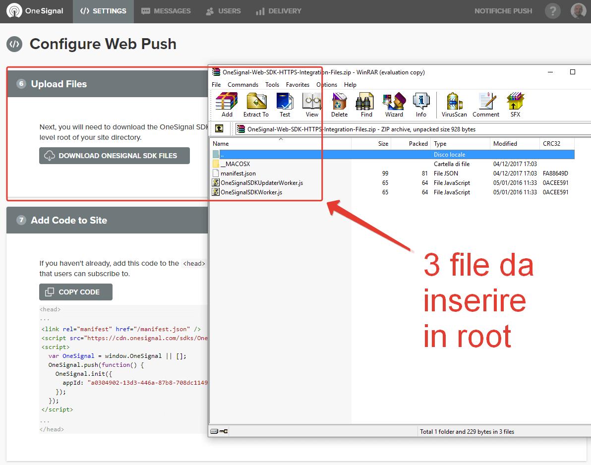 I file da caricare nella root via FTP