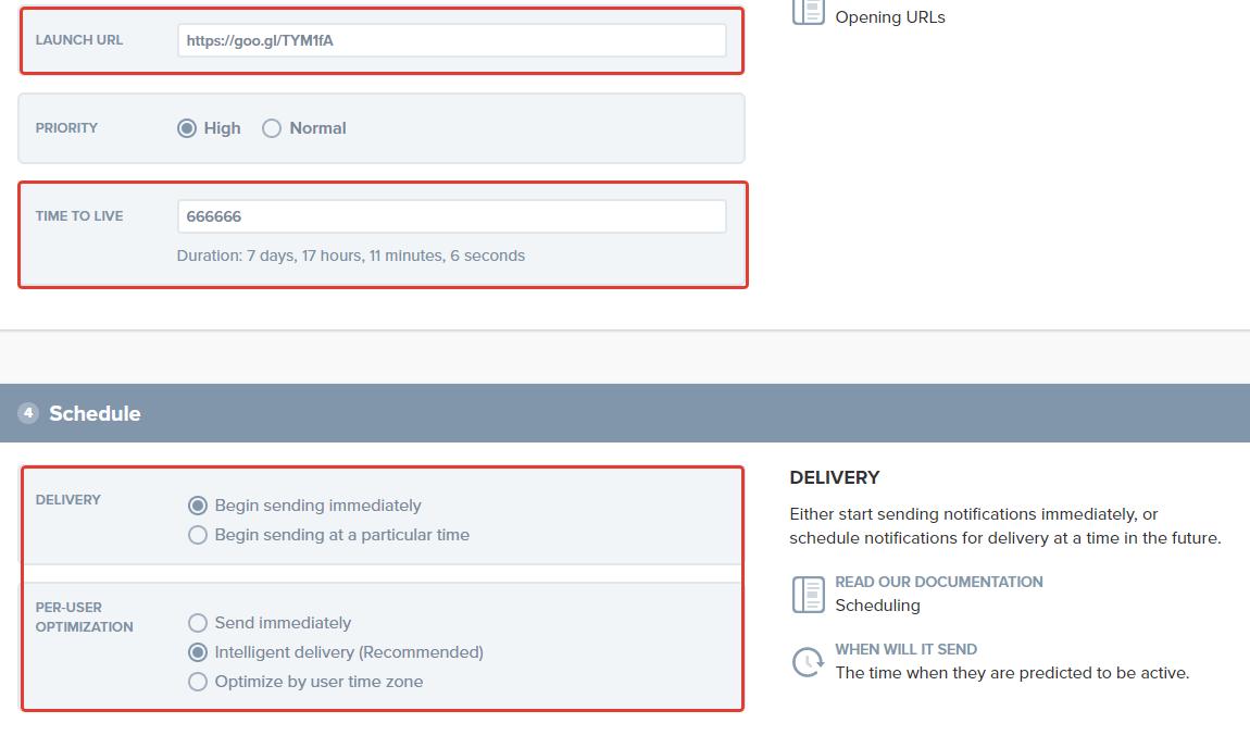 Imposta URL e durata del messaggio