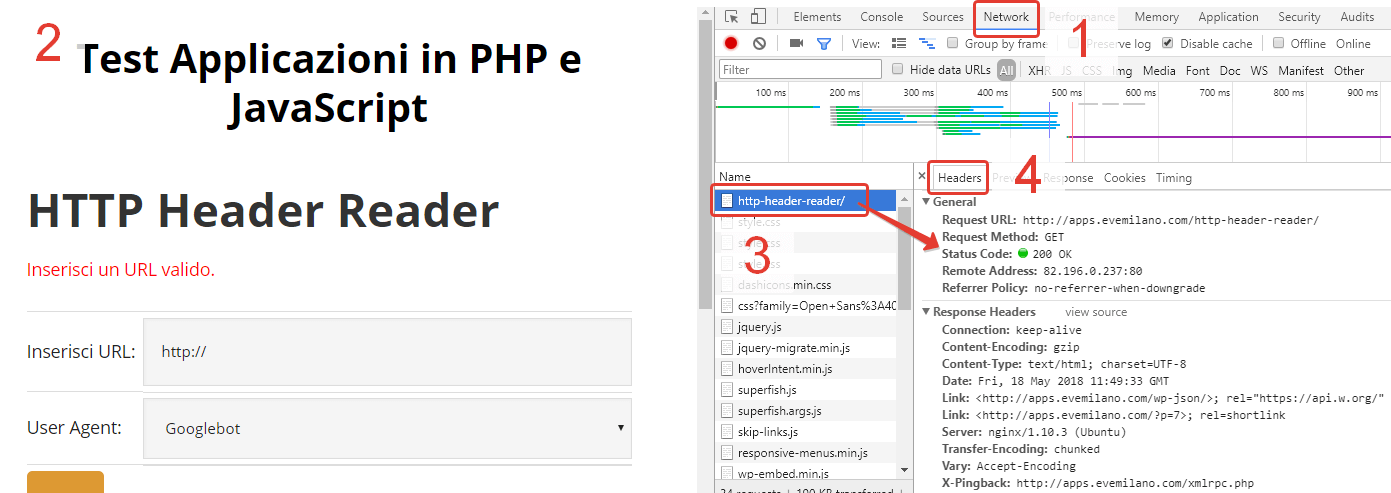Verifica Status Code con Strumenti per sviluppatore di Google Chrome