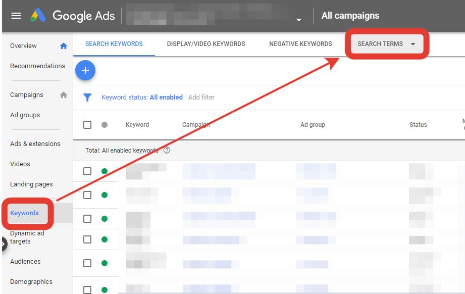 Google Ads Termini di ricerca