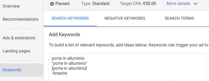 Aggiungere parole in Google Ads