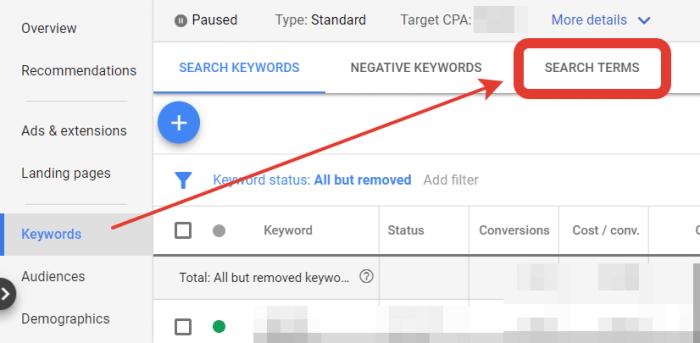 Termini di ricerca in Google Ads