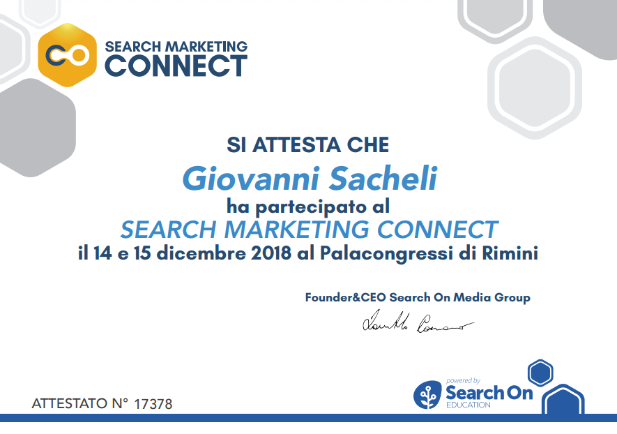 Attestato partecipazione Search Marketing Connect 2018