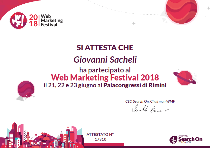Attestato partecipazione Web Marketing Festival 2018