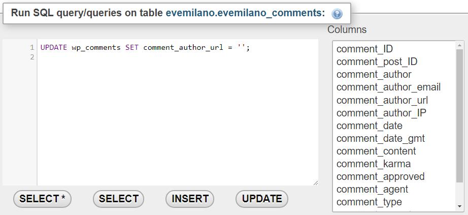Rimuovere URL autore con phpMyAdmin
