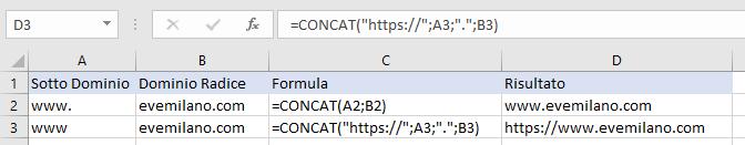 Excel - Funzione CONCAT