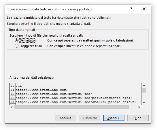 Excel - Funzione Testo in Colonne