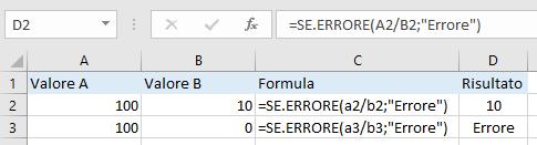 Excel - Funzione SE.ERRORE