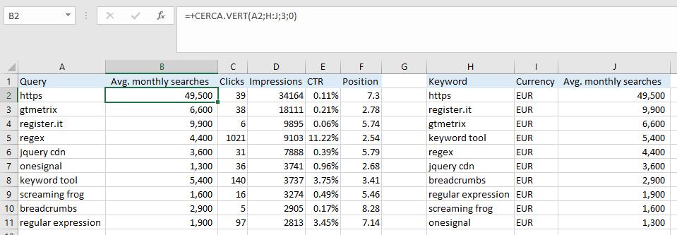 Excel - Funzione CERCA.VERT