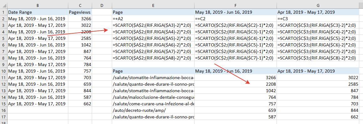 Excel - Funzione SCARTO