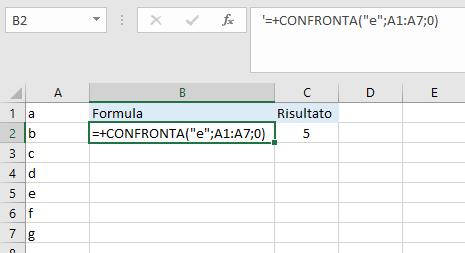 Excel - Funzione CONFRONTA