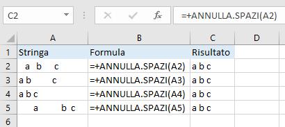 Excel - Funzione ANNULLA.SPAZI