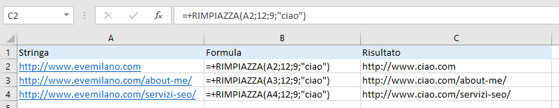 Excel - Funzione RIMPIAZZA