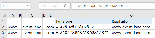 Excel - Funzione &